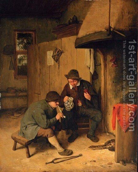 Peasants drinking and smoking in a kitchen interior by (after) Cornelis Dusart - Reproduction Oil Painting