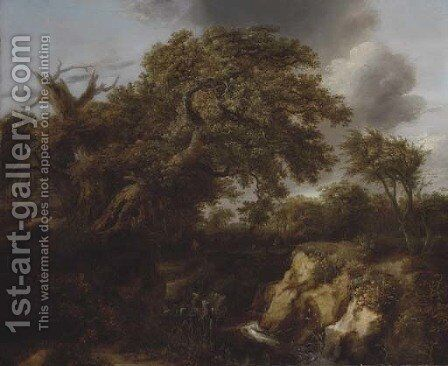 A wooded river landscape with travellers on a track by a cottage by (after) Cornelius Decker - Reproduction Oil Painting
