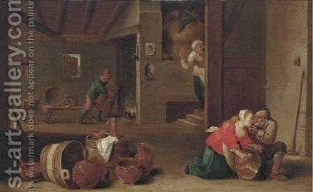 A kitchen interior with peasants by (after) Cornelis Mahu - Reproduction Oil Painting