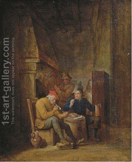 Peasants smoking and drinking in an interior by (after) Cornelis Mahu - Reproduction Oil Painting