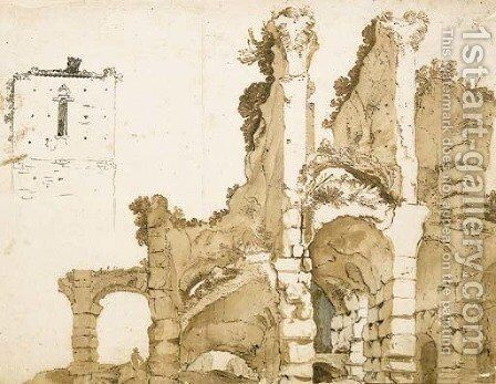 A partial view of the ruins of the Colosseum, Rome, with a study of the top of a house by (after) Cornelis Van Poelenburgh - Reproduction Oil Painting