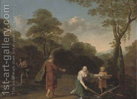 Elijah and the Widow of Zarephath by (after) Cornelis Van Poelenburgh - Reproduction Oil Painting