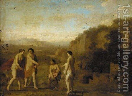 The finding of Moses by (after) Cornelis Van Poelenburgh - Reproduction Oil Painting