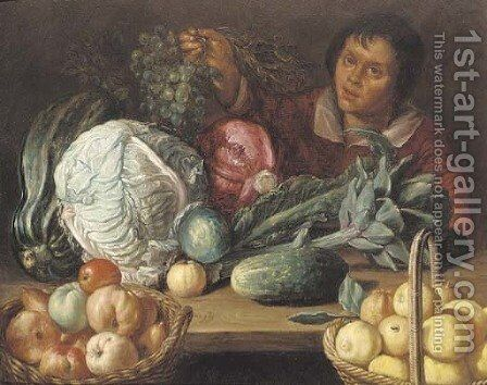 A still life of vegetables and fruit with a youth holding a bunch of grapes by (after) Cornelis Willemsz. Eversdyck - Reproduction Oil Painting