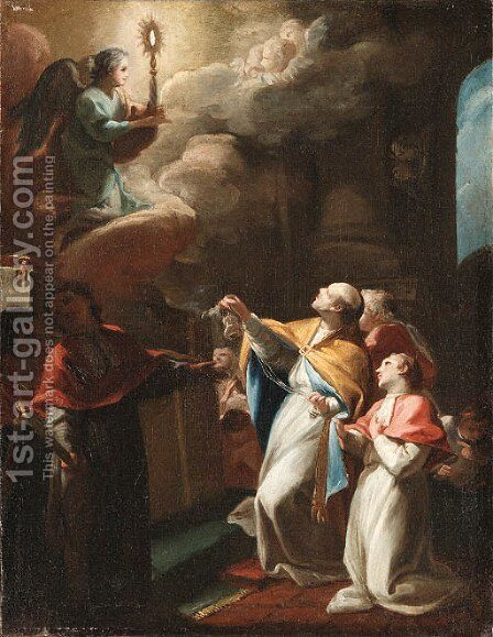 Angel with a Monstrance appearing to a Saint by (after) Daniel Gran - Reproduction Oil Painting