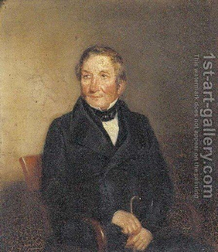 Portrait of gentleman, thought to be William Ewart Gladstone (1809-1898), small half-length, in a black suit, holding a cane by (after) Maclise, Daniel - Reproduction Oil Painting