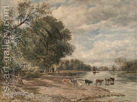 Cattle watering on the Thames at Richmond by (after) Cox, David - Reproduction Oil Painting