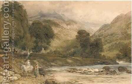 Gossiping by the river by (after) Cox, David - Reproduction Oil Painting