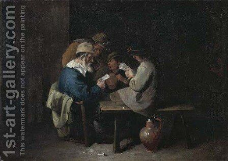 Peasants drinking and playing cards in an inn by (after) David Ryckaert III - Reproduction Oil Painting