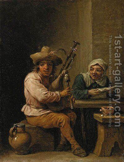 A bagpipe player with a lady reading a letter in an interior by (after) David The Younger Teniers - Reproduction Oil Painting