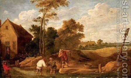 Figures fishing in a stream by a cottage by (after) David The Younger Teniers - Reproduction Oil Painting