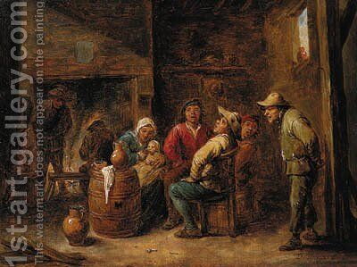 Peasants singing and a mother with her child in an interior by (after) David The Younger Teniers - Reproduction Oil Painting
