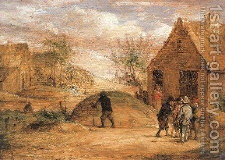 Peasants conversing outside a house by (after) David The Younger Teniers - Reproduction Oil Painting