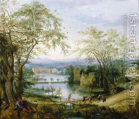 A fete champetre near Groenendaal Abbey - a fragment by (after) Denys Van Alsloot - Reproduction Oil Painting