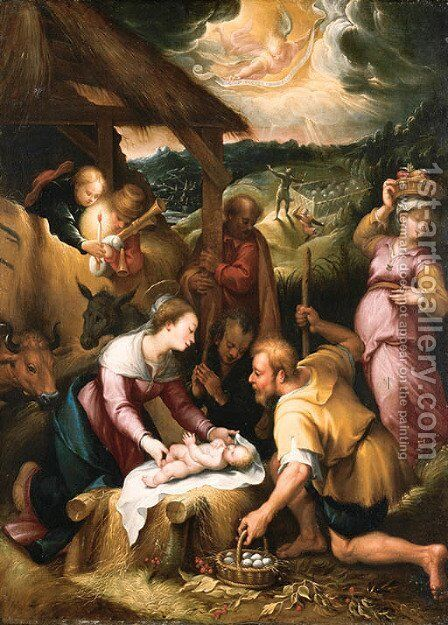 The Adoration of the Shepherds by (after) Denys Calvaert - Reproduction Oil Painting