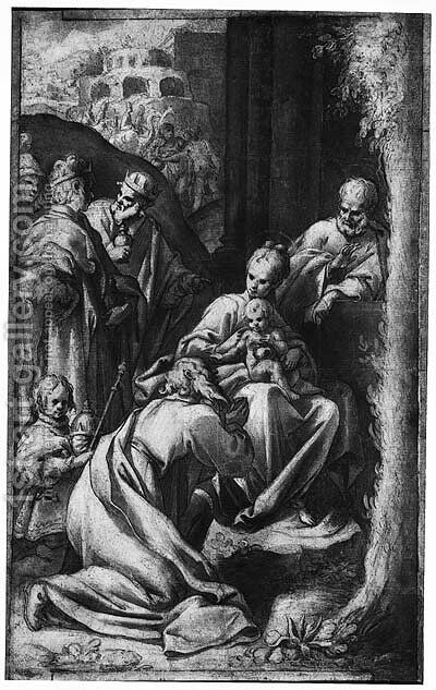 The Adoration of the Magi by (after) Denys Calvaert - Reproduction Oil Painting
