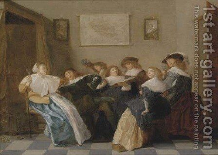 Elegant company merrymaking in an interior by (after) Dirck Hals - Reproduction Oil Painting