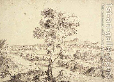 An extensive landscape with a tree in the foreground by (after) Domenico Bernardo Zilotti - Reproduction Oil Painting