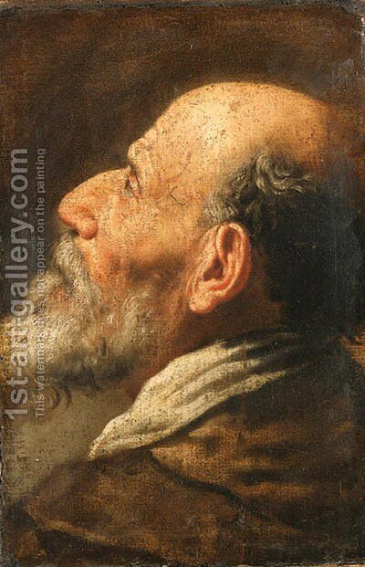 The head of a bearded man, a fragment by (after) Domenico Fetti - Reproduction Oil Painting