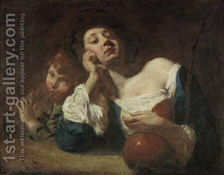 A shepherdess with a gourd and a peasant boy playing pipes by (after) Domenico Maggiotto - Reproduction Oil Painting