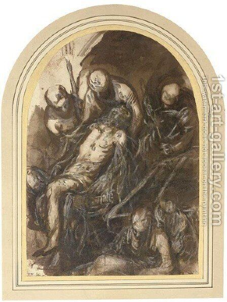 The Entombment by (after) Domenico Tintoretto (Robusti) - Reproduction Oil Painting