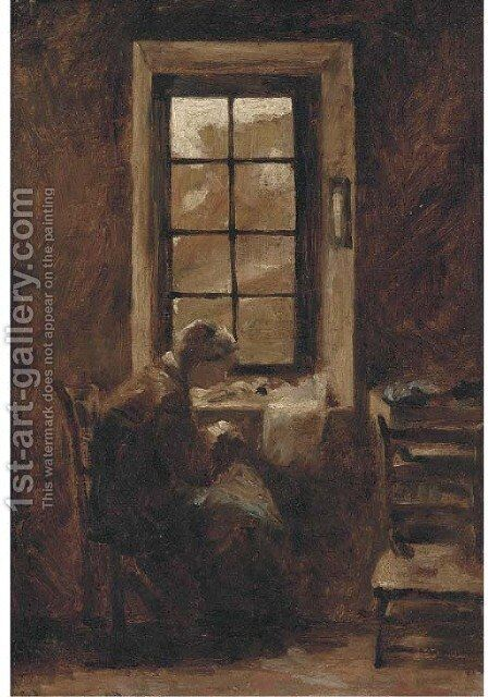 Sewing by the window by (after) Edmond Charles Joseph Yon - Reproduction Oil Painting
