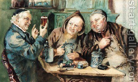 In the tavern by (after) Eduard Von Grutzner - Reproduction Oil Painting