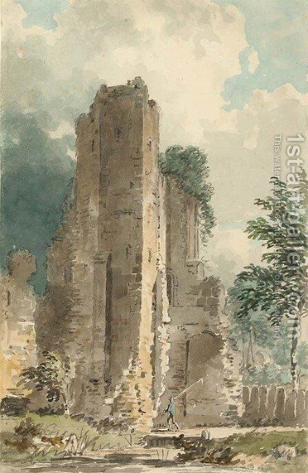 An angler before a ruined castle by (after) Dayes, Edward - Reproduction Oil Painting