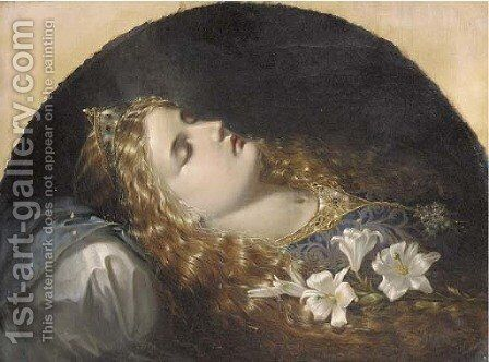 Elaine, the Lily Maid of Astolat by (after) Corbould, Edward Henry - Reproduction Oil Painting