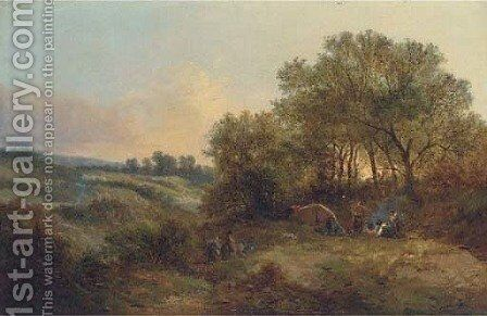 The gypsy camp by (after) Edward Charles Williams - Reproduction Oil Painting