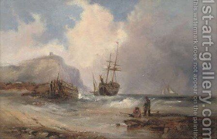 Beaching the brig before the approaching squall by (after) Edwin Hayes - Reproduction Oil Painting