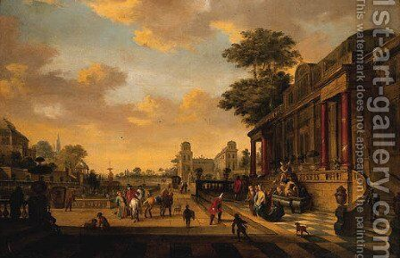 A Capriccio of a baroque Palace with a Lady greeting a Gentleman on a Terrace by Egbert Jaspersz. Van, The Elder Heemskerck - Reproduction Oil Painting
