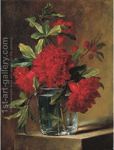 Pomegranate blossoms in a glass vase on a stone ledge by (after) Elise De Bruyere - Reproduction Oil Painting