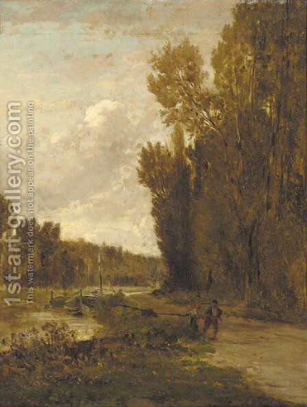 Le Chemin de Halage by (after) Emile Charles Lambinet - Reproduction Oil Painting