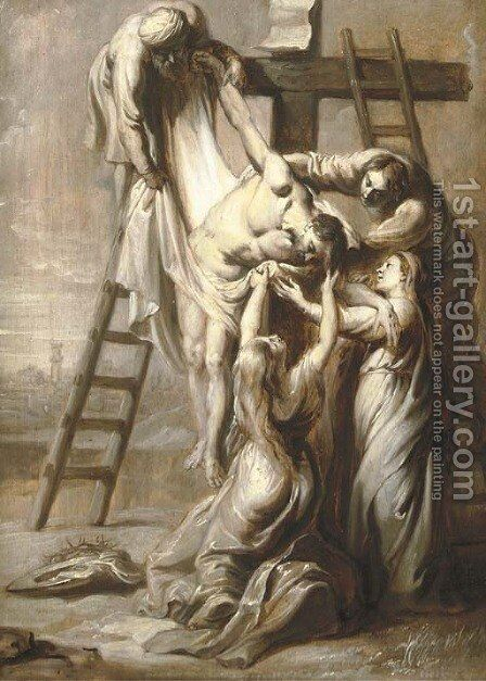 The Descent from the Cross; en grisaille by (after) Erasmus II Quellin (Quellinus) - Reproduction Oil Painting