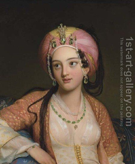 Roxane in Jean-Baptiste Racine's Bajazet by (after) Eugene Francois Marie Joseph Deveria - Reproduction Oil Painting