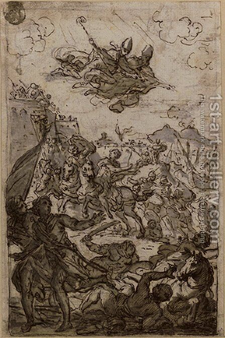 Two bishops intervening in a battle (recto5i); an angel (verso) by (after) Fedele Fischetti - Reproduction Oil Painting