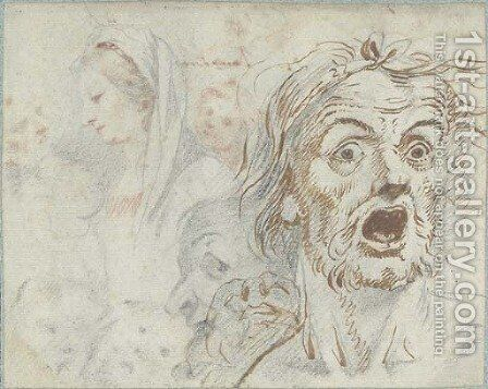A man screaming, and studies of the Virgin and other figures; and A portrait of a man, and the Madonna and Child by (after) Federico Zuccaro - Reproduction Oil Painting