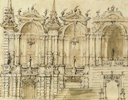 Design for an elaborate facade with three bays by (after) Ferdinando Galli Bibiena - Reproduction Oil Painting