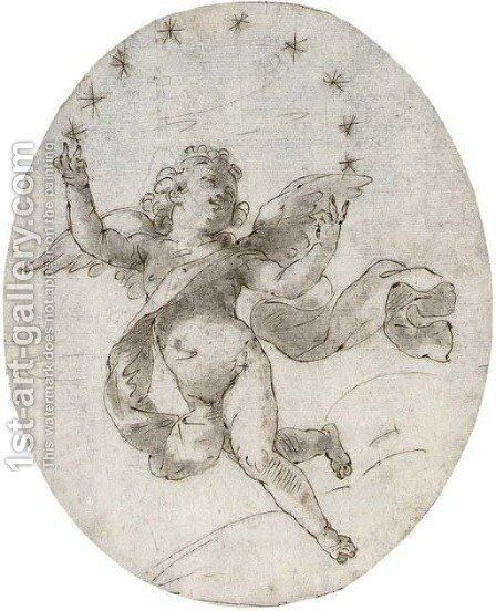 A putto with nine stars by (after) Filippo Pedrini - Reproduction Oil Painting
