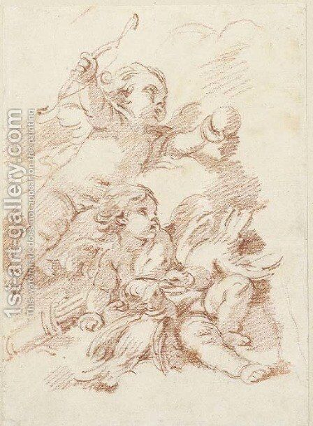 Two putti by (after) Francois Boucher - Reproduction Oil Painting