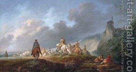 An extensive landscape with cavalry on the move by (after) Francesco Giuseppe Casanova - Reproduction Oil Painting