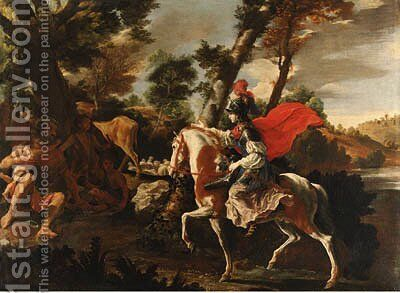 Erminia seeking refuge with the shepherds by (after) Francesco Cozza - Reproduction Oil Painting