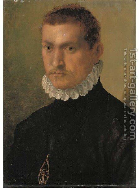 Portrait of a knight by (after) Francesco De' Rossi (see Salviati, Cecchino Del) - Reproduction Oil Painting