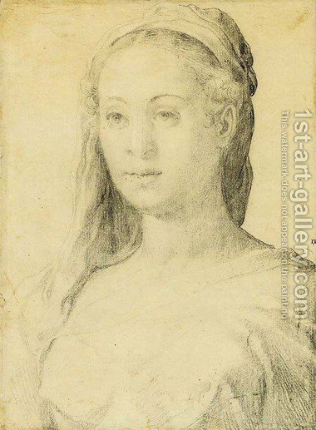 Portrait of a woman by (after) Francesco De' Rossi (see Salviati, Cecchino Del) - Reproduction Oil Painting