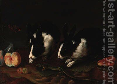 Rabbits by (after) Francesco Fernandi, Called L'Imperiali - Reproduction Oil Painting