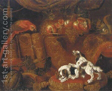 Two spaniels on gold trimmed red cushion by (after) Francesco (Il Maltese) Fieravino - Reproduction Oil Painting
