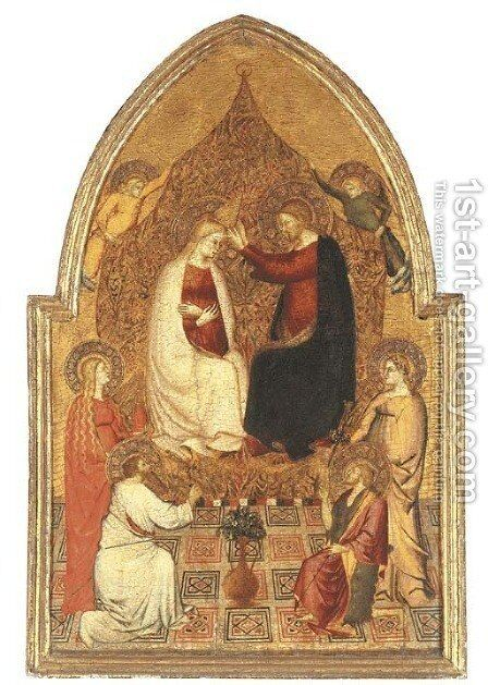 The Coronation of the Virgin, with Saints Bartholomew, Mary Magdalen, John the Baptist and a Female Saint by (after) Pier Francesco Fiorentino - Reproduction Oil Painting