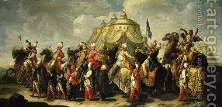 A triumphal procession of men in turban and oriental clothes by (after) Francesco Fontebasso - Reproduction Oil Painting