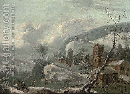 A winter landscape with figures skating, a town beyond by (after) Francesco Foschi - Reproduction Oil Painting